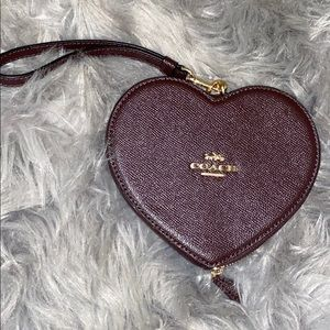Coach Bags Wristlet Heart - Burgundy red